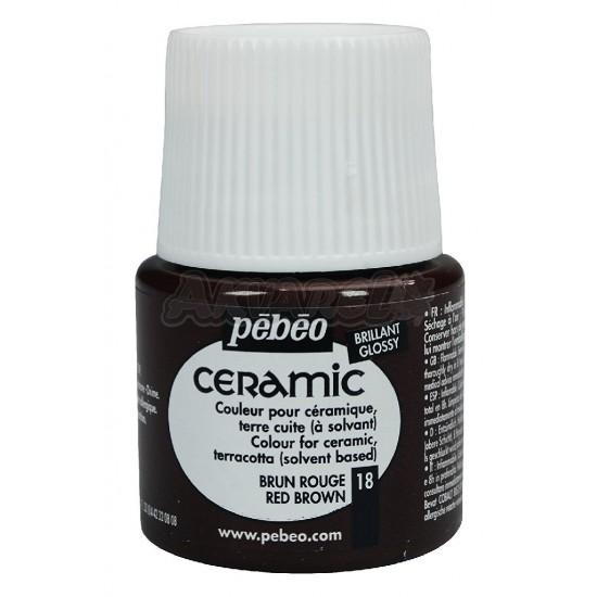 Фарба-емаль лакова непрозора (вр.сушки 8год.)  Ceramic 45мл  ЧЕРВОНО-КОРИЧНЕВИЙ