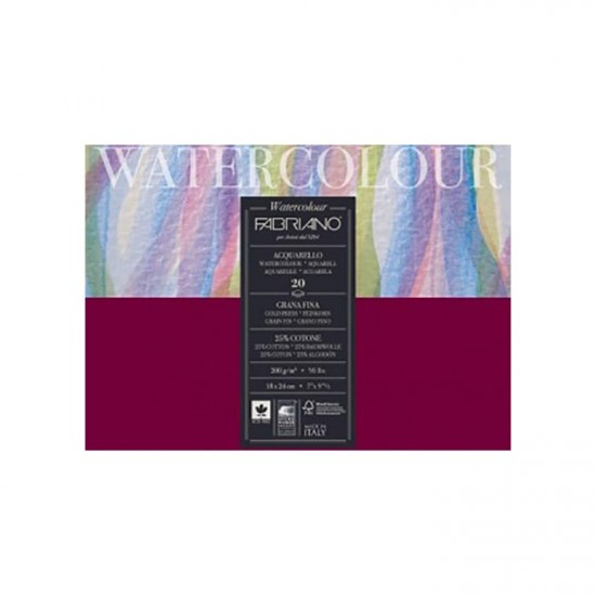 Fabriano Альбом для акварелі Watercolour 24х32 см 200 г/м.кв. 75 аркушів склейка
