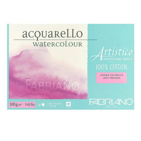 Fabriano Блок для акварелі Artistico 30,5*45,5 см, 300 г/м.кв, 20 л., дрібне зерно, 100 бавовна