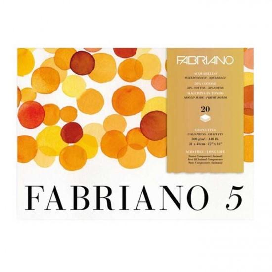 Fabriano Блок для акварелі Fabriano 5, 31*41 см, 300 г/м.кв, 20 л, середнє зерно, 50 бавовна