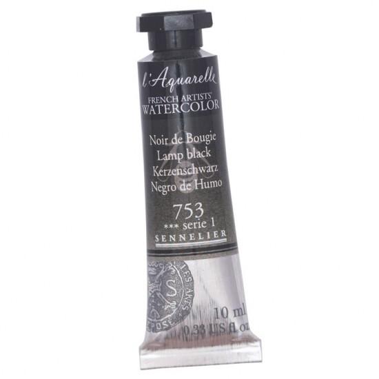 753 Фарба акварельна  l Aquarelle,  S1 -  Lamp black, 10ml, Sennelier