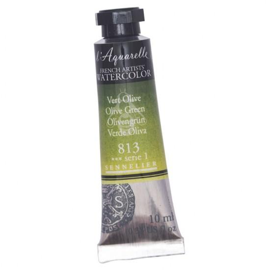 813 Фарба акварельна  l Aquarelle,  S1 -  Olive Greent, 10ml, Sennelier