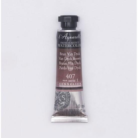 407 Фарба акварельна  l Aquarelle,  S1 -  Ван Дайк коричневый (Van Dyck Brown), 10ml, Sennelier