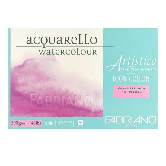 Fabriano Блок для акварелі Artistico 18*26 см, 300 г/м.кв, 20 л, середнє зерно, 100% бавовна