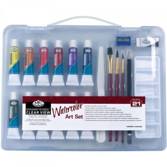 Набор акварел. красок, пластик, 12*12мл., доп. материалы, (6 кистей), Royal Langnickel Essentials