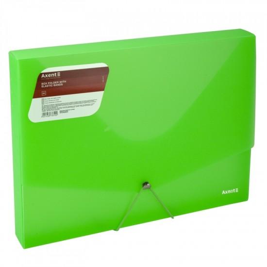 Папка на гумках, А4, прозора зелена