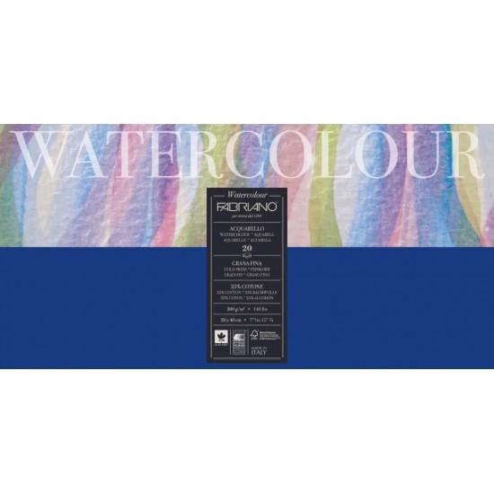 Fabriano Альбом для акварелі Watercolour 20х40 см 300 г/м.кв. 20 аркушів склейка з 4 сторін