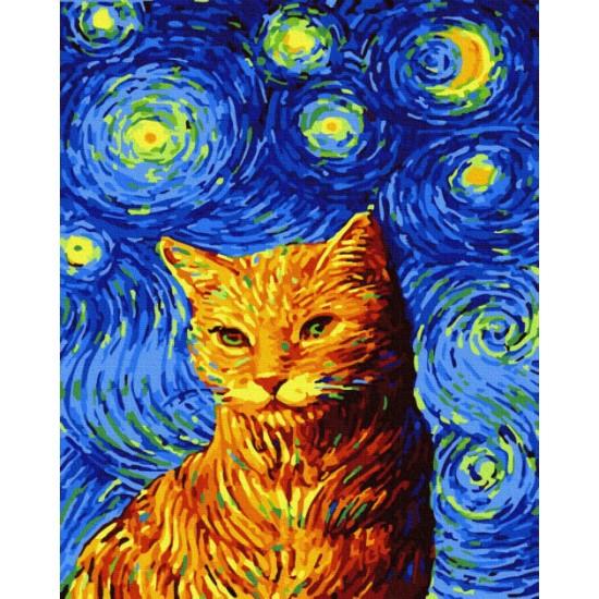 """Картина по номерам, Кіт в зоряну ніч, """"BrushMe"""""""