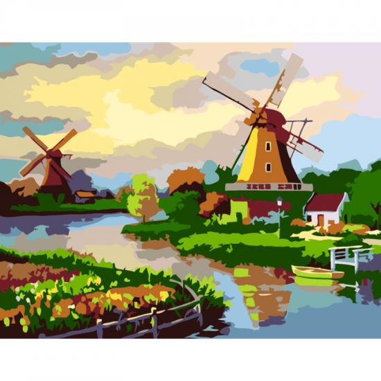 """Набір-стандарт, картина за номерами, """"Млин біля річки"""", 35х45см, ROSA START"""