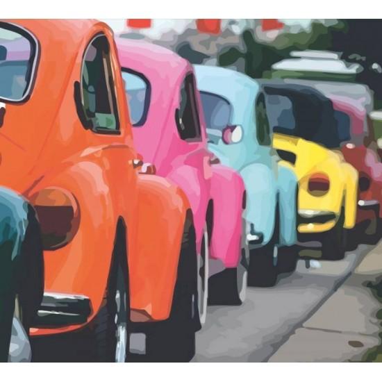 """Набір-стандарт, картина за номерами, """"Яскраві ретро автомобілі"""", 35х45см, ROSA START"""