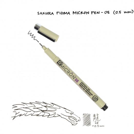 Лінер PIGMA Micron (0.8), 0,5мм, Чорний, Sakura