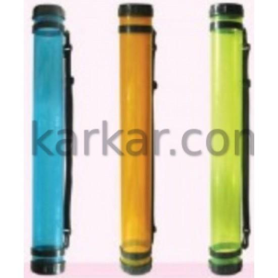 Тубус для паперу, пластик, прозорий (оранжевий), (довж. 65см, d:8.3см), (11319) D.K.ART & СRAFT
