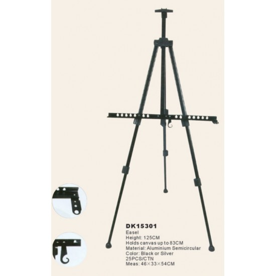 Мольберт-тринога алюмінієва, чорна висота 125см., висота полотна до 83см., D.K.ART & CRAFT
