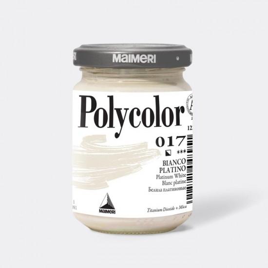 017 Фарба акрилова Polycolor, Білила платинові, 140мл., Maimeri