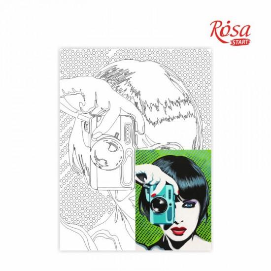 Полотно на картоні з контуром, «Paparazzi», 30*40, бавовна, акрил, ROSA START