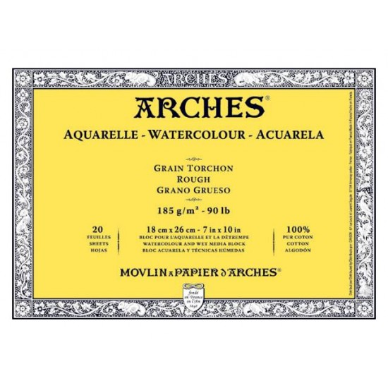 Arches блок для акварелі крупнозернистий Arches Rough Grain 185 гр, 18x26 см (20)